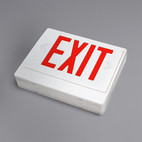 Lavex Industrial Universal White Remote Capable LED Exit Sign with Red Lettering and Battery Backup
