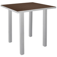 POLYWOOD ATB36FASMA Mahogany Euro 36 inch Square Bar Height Table with Textured Silver Frame
