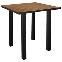 POLYWOOD ATB36FABTE Teak Euro 36 inch Square Bar Height Table with Textured Black Frame
