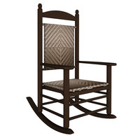 POLYWOOD K147FMACA Cahaba Jefferson Woven Rocking Chair with Mahogany Frame