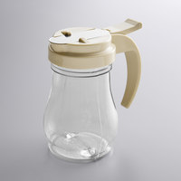 Vollrath 1606-18 Dripcut® 7 oz. Clear Polycarbonate Teardrop Syrup Server with Almond Top