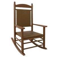 POLYWOOD K147FTETW Tigerwood Jefferson Woven Rocking Chair with Teak Frame