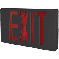 Lavex Industrial Universal Black Exit Sign with Red Lettering and Battery Backup