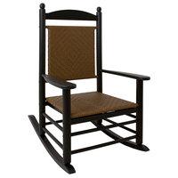 POLYWOOD K147FBLTW Tigerwood Jefferson Woven Rocking Chair with Black Frame