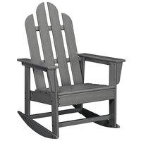 POLYWOOD ECR16GY Slate Grey Long Island Rocking Chair