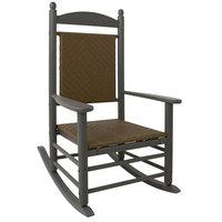 POLYWOOD K147FGYTW Tigerwood Jefferson Woven Rocking Chair with Slate Grey Frame