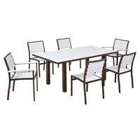 POLYWOOD PWS117-1-16WH White Euro 36 inch x 72 inch Rectangular Dining Height Table with Textured Bronze Frame and 6 Chairs