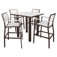 POLYWOOD PWS158-1-16WH White Euro 36 inch Square Bar Height Table with Textured Bronze Frame and 4 Chairs