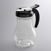 Vollrath 1412-06 Dripcut® 10 oz. Clear Polycarbonate Teardrop Syrup Server with Black Top