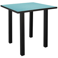 POLYWOOD ATB36FABAR Aruba Euro 36 inch Square Bar Height Table with Textured Black Frame