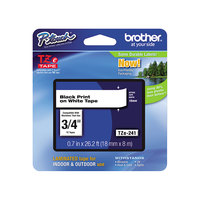 Brother TZE241 3/4 inch Black on White Standard Adhesive Laminated Labeling Tape