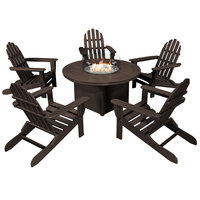 POLYWOOD PWS414-1-MA Mahogany 48 inch Round Fire Pit Table with 5 Classic Folding Adirondack Chairs