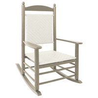 POLYWOOD K147FSAWL White Loom Jefferson Woven Rocking Chair with Sand Frame