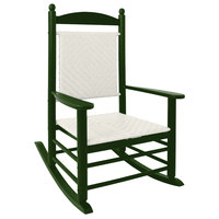 POLYWOOD K147FGRWL White Loom Jefferson Woven Rocking Chair with Green Frame