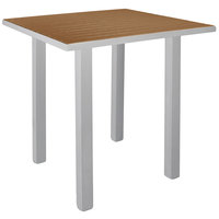 POLYWOOD ATB36FASTE Teak Euro 36 inch Square Bar Height Table with Textured Silver Frame