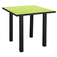 POLYWOOD ATR36FABLI Lime Euro 36 inch Square Counter Height Table with Textured Black Frame