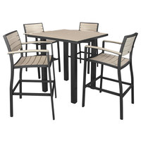 POLYWOOD PWS158-1-12SA Sand Euro 36 inch Square Bar Height Table with Textured Black Frame and 4 Chairs