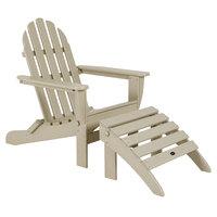 POLYWOOD PWS136-1-SA Sand Classic Folding Adirondack Chair with Folding Ottoman
