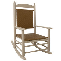 POLYWOOD K147FSATW Tigerwood Jefferson Woven Rocking Chair with Sand Frame