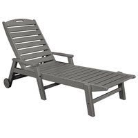 POLYWOOD NCW2280GY Slate Grey Nautical Folding Adjustable Chaise with Arms and Wheels
