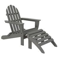 POLYWOOD PWS136-1-GY Slate Grey Classic Folding Adirondack Chair with Folding Ottoman