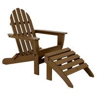 POLYWOOD PWS136-1-TE Teak Classic Folding Adirondack Chair with Folding Ottoman