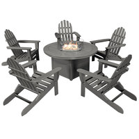 POLYWOOD PWS414-1-GY Slate Grey 48 inch Round Fire Pit Table with 5 Classic Folding Adirondack Chairs