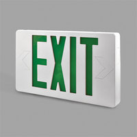 Lavex Industrial Ultra Thin Single Face White Exit Sign with Green Lettering - AC Only