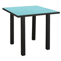 POLYWOOD ATR36FABAR Aruba Euro 36 inch Square Counter Height Table with Textured Black Frame