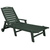 POLYWOOD NCW2280GR Green Nautical Folding Adjustable Chaise with Arms and Wheels