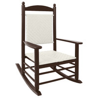 POLYWOOD K147FMAWL White Loom Jefferson Woven Rocking Chair with Mahogany Frame