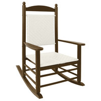 POLYWOOD K147FTEWL White Loom Jefferson Woven Rocking Chair with Teak Frame