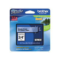 Brother TZE141 3/4 inch Black on Clear Standard Adhesive Laminated Labeling Tape