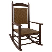 POLYWOOD K147FMATW Tigerwood Jefferson Woven Rocking Chair with Mahogany Frame