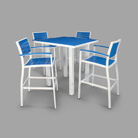 POLYWOOD PWS158-1-13PB Pacific Blue Euro 36 inch Square Bar Height Table with Satin White Frame and 4 Chairs
