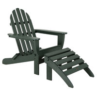 POLYWOOD PWS136-1-GR Green Classic Folding Adirondack Chair with Folding Ottoman