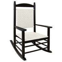 POLYWOOD K147FBLWL White Loom Jefferson Woven Rocking Chair with Black Frame