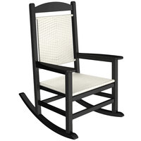 POLYWOOD R200FBLWL White Loom Presidential Woven Rocking Chair with Black Frame