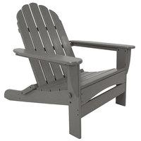 POLYWOOD AD7030GY Slate Grey Classic Oversized Curveback Adirondack Folding Chair