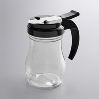 Vollrath 1606-06 Dripcut® 7 oz. Clear Polycarbonate Teardrop Syrup Server with Black Top