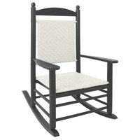 POLYWOOD K147FGYWL White Loom Jefferson Woven Rocking Chair with Slate Grey Frame