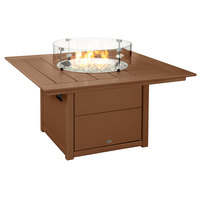 POLYWOOD CTF42STE Teak 42 inch Square Fire Pit Table