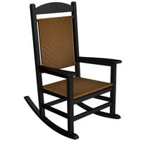 POLYWOOD R200FBLTW Tigerwood Presidential Woven Rocking Chair with Black Frame