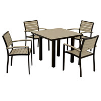 POLYWOOD PWS118-1-12SA Sand Euro 36 inch Square Dining Height Table with Textured Black Frame and 4 Chairs
