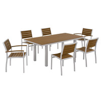 POLYWOOD PWS117-1-11TE Teak Euro 36 inch x 72 inch Rectangular Dining Height Table with Textured Silver Frame and 6 Chairs