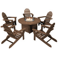 POLYWOOD PWS414-1-TE Teak 48 inch Round Fire Pit Table with 5 Classic Folding Adirondack Chairs