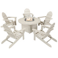 POLYWOOD PWS414-1-SA Sand 48 inch Round Fire Pit Table with 5 Classic Folding Adirondack Chairs