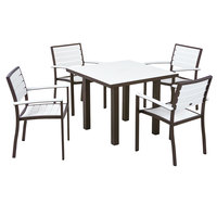 POLYWOOD PWS118-1-16WH White Euro 36 inch Square Dining Height Table with Textured Bronze Frame and 4 Chairs