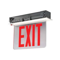 Lavex Industrial New York City Approved Double Face Aluminum Exit Sign with Red LED Lettering, Recessed Edge Lighting, and Battery Backup - 120/277V