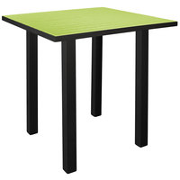 POLYWOOD ATB36FABLI Lime Euro 36 inch Square Bar Height Table with Textured Black Frame